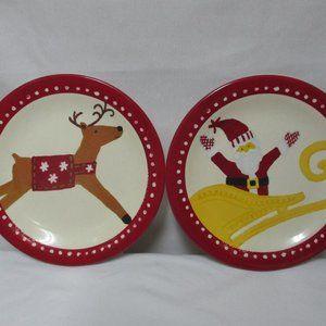 POTTERY BARN KIDS Christmas Santa & Sleigh Plates